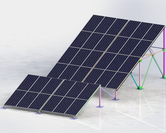 Solar Panel Mounting Structure 3d Cad Model Library