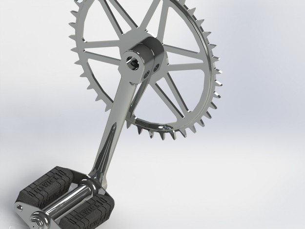 1950s bike right crank and chain ring