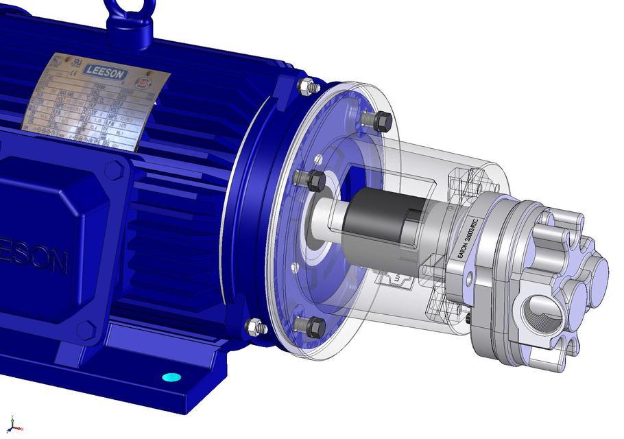 10HP Leeson Motor & Eaton Gear Pump and parts | 3D CAD Model