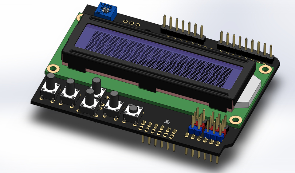 LCD Keypad shield | 3D CAD Model Library | GrabCAD