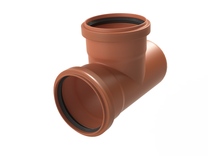 160mm PVC Pipe Fittings - Tee & pipe | 3D CAD Model Library | GrabCAD