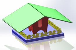 Bird house with bird-shaped fence