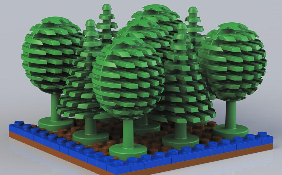Lego Tree 3d Cad Model Library Grabcad