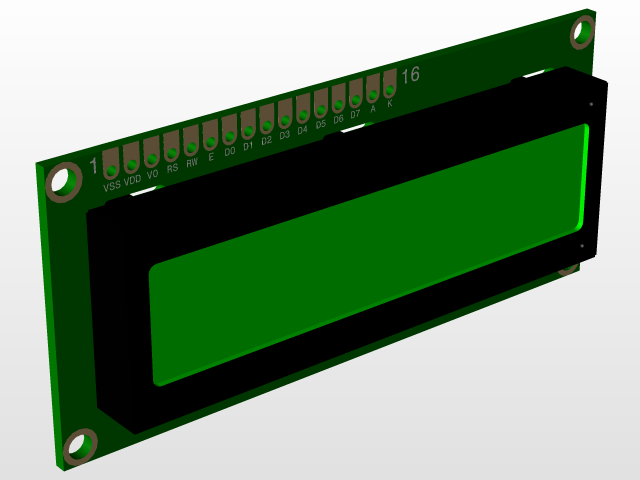 16 X 2 LCD display screen with backlight and an I2C