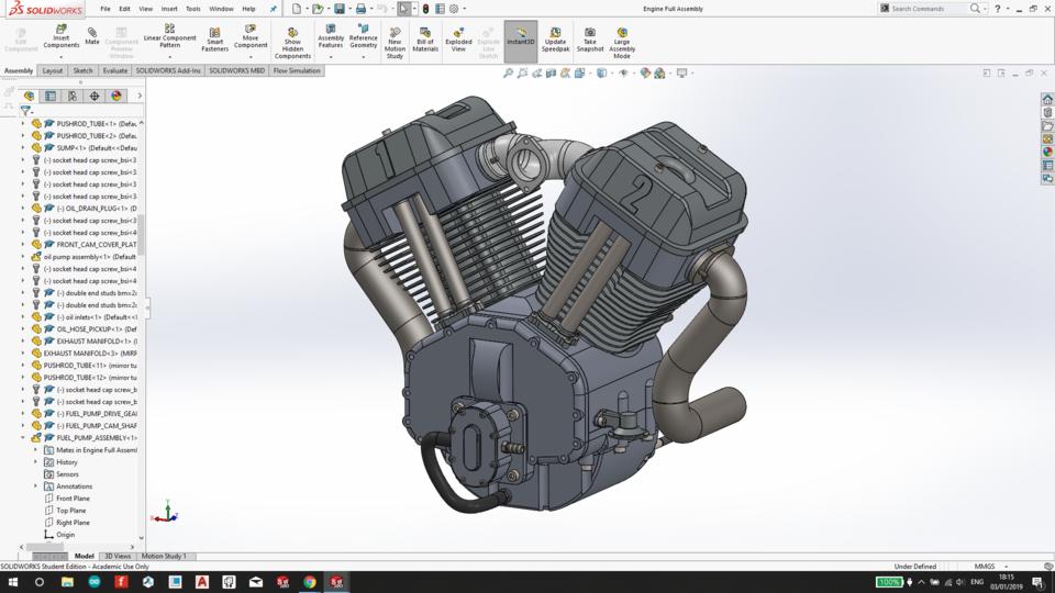 V Twin Engine | 3D CAD Model Library | GrabCAD