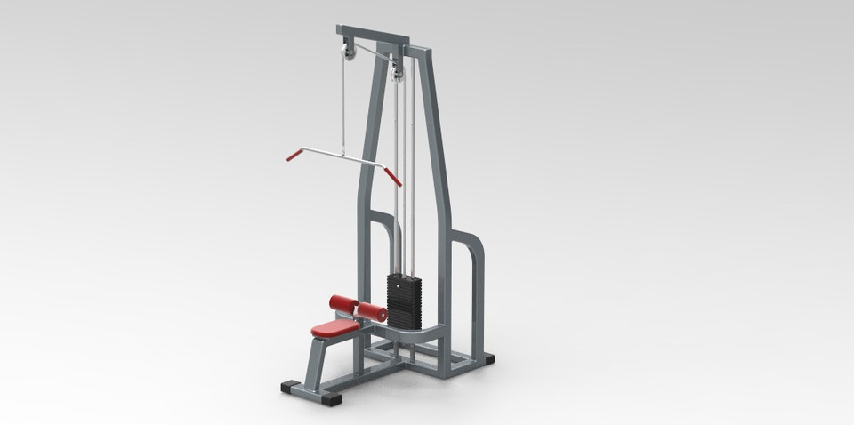 Lat pull down exercise machine 3d cad model library grabcad