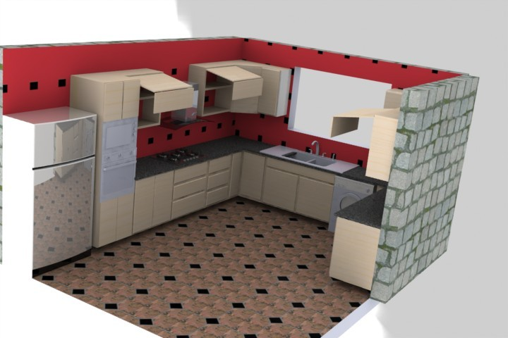 Fantastisch Modern Kitchen U Form | 3D CAD Model Library | GrabCAD