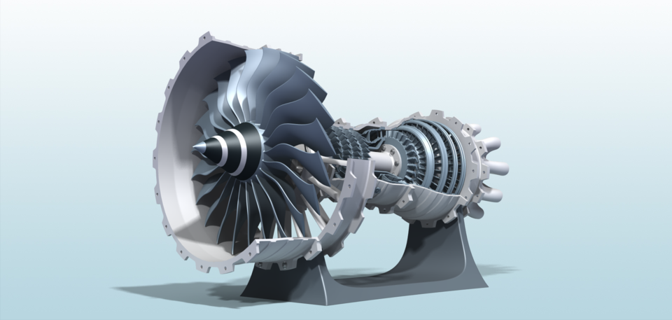 3D Printable High-Bypass Jet Engine   3D CAD Model Library
