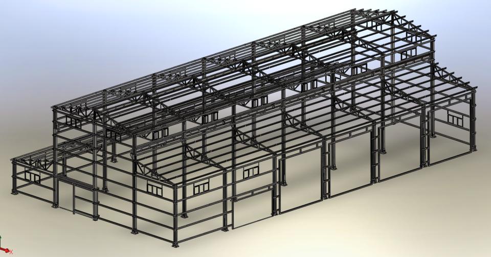 Workshop steel frame | 3D CAD Model Library | GrabCAD