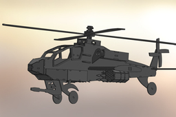 Apache Helicopter AH-64, sheet metal puzzle, military, 3d model