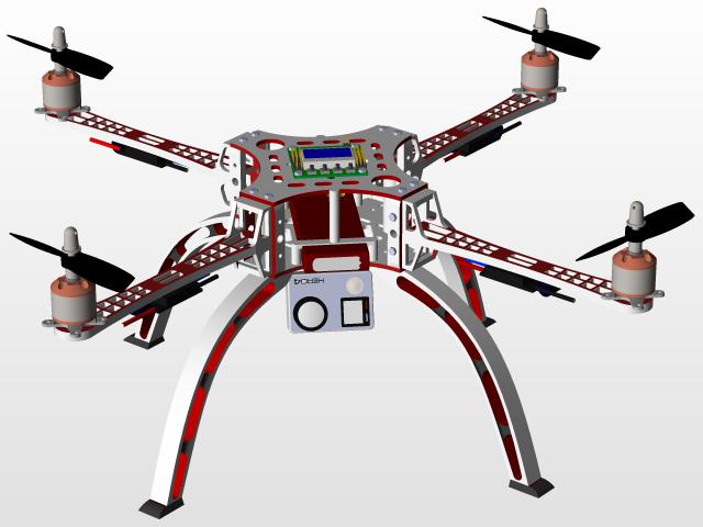 Quadcopter (drone) | 3D CAD Model Library | GrabCAD