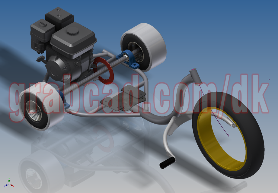 Motorized Drift Trike | 3D CAD Model Library | GrabCAD