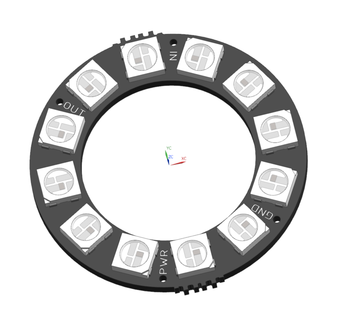 Adafruit Neopixel Ring 12x (WS2812 RGB LEDs) | 3D CAD Model
