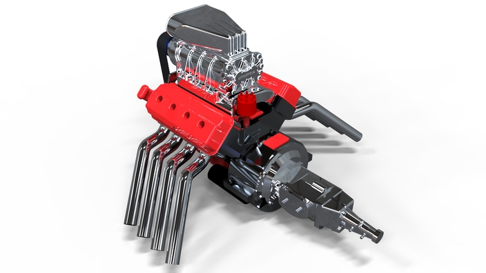 Keyshot rendering Hemi v8 engine with blower