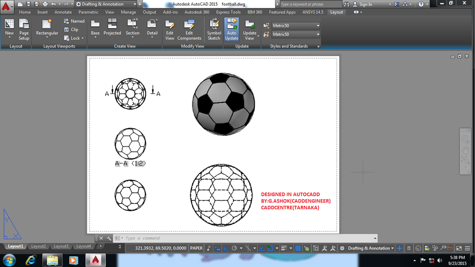 FOOTBALL IN AUTOCAD | 3D CAD Model Library | GrabCAD