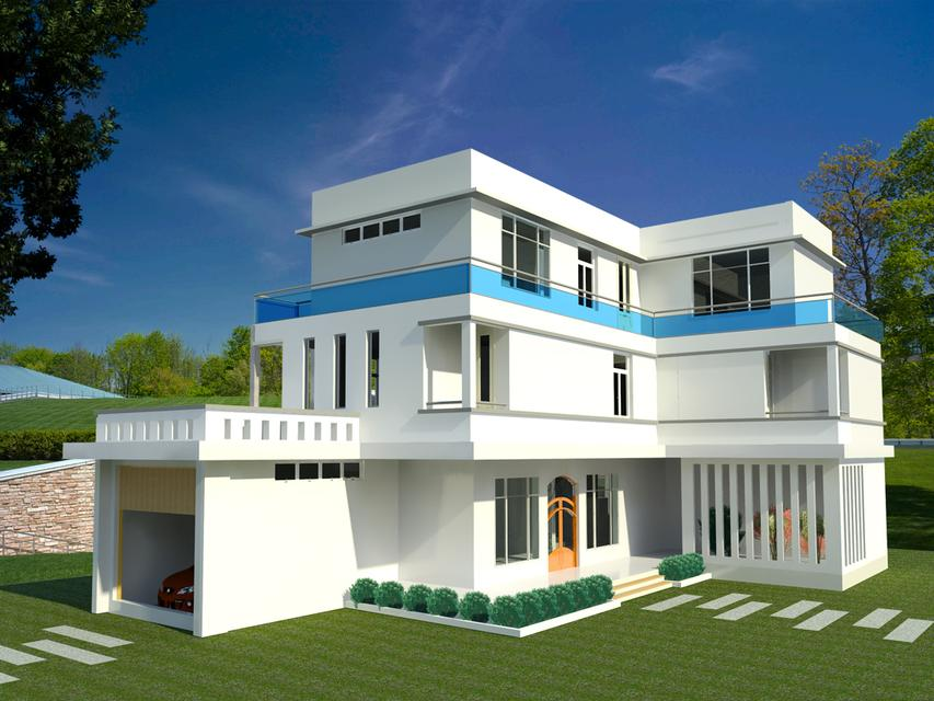 Front Elevation Design In Revit : D home elevation cad model library grabcad