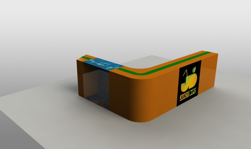 counter design for snack shop in a mall 3d cad model