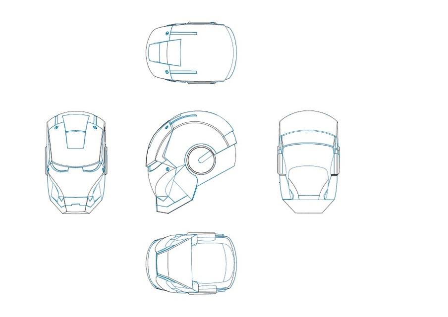 Iron Man Helmet 2d 3d Cad Model Library Grabcad