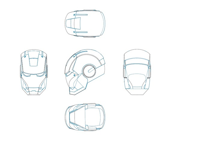 Ironman Helmet Drawing Iron Man Helmet 2d 3d Cad