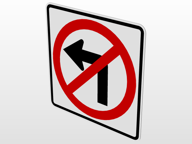 R3 2 Sign >> No Right Turn R3 1 No Left Turn R3 2 Road Signs 3d Cad