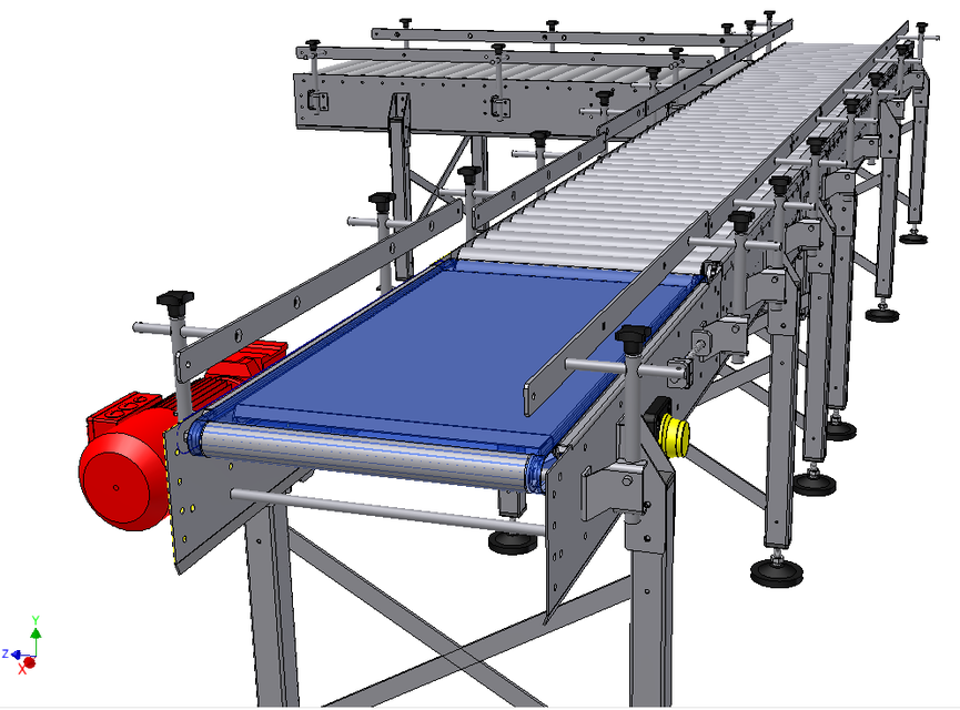 belt to roller conveyor - rejection table | 3d cad model library