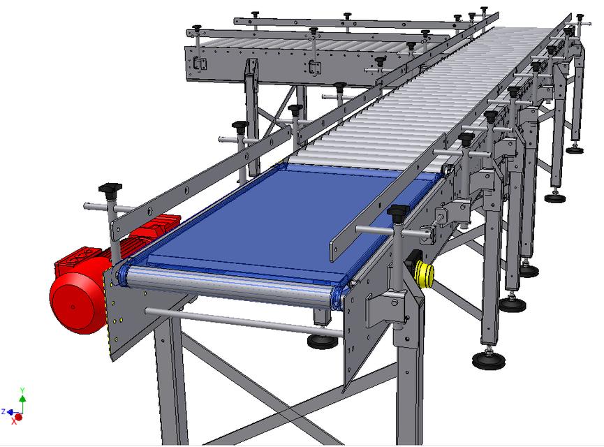 Belt To Roller Conveyor   Rejection Table | 3D CAD Model Library | GrabCAD