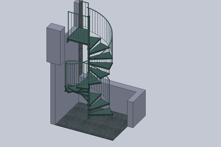 Spiral staircase solidworks other 3d cad model grabcad Spiral stair cad