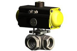 1 1/2 INCH 3 WAY BALL VALVE with pneumatic actuator