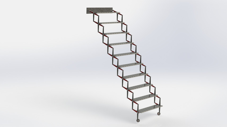 Folding Stairs / Klapp Treppe | 3D CAD Model Library | GrabCAD