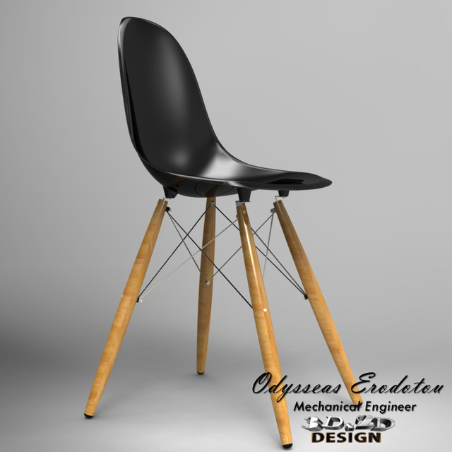 The Vitra DSW Eames Plastic Side Chair | 3D CAD Model Library | GrabCAD