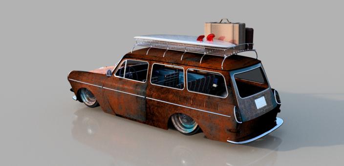 67 VW Squareback | 3D CAD Model Library | GrabCAD