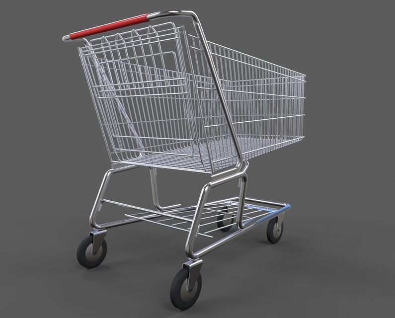 shopping cart 3d cad model library grabcad