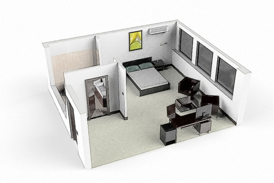 hotel room 3d cad model library grabcad rh grabcad com model hotel room service hotel rooms in model town lahore