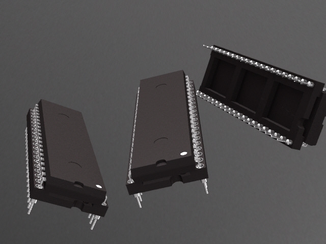 IC Package DIP with Socket | 3D CAD Model Library | GrabCAD