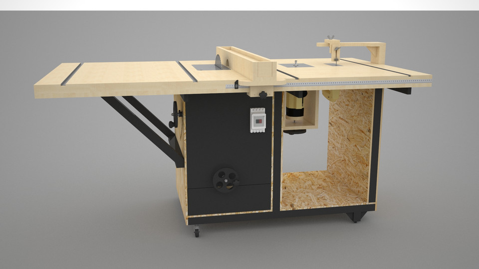 Awesome Diy Table Saw With Router And Jigsaw 3D Cad Model Library Download Free Architecture Designs Scobabritishbridgeorg