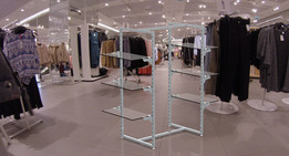 Rack with removable glass shelves