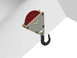 assembled view of crane hook with pulley block