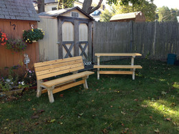 combination picnic tables and benches