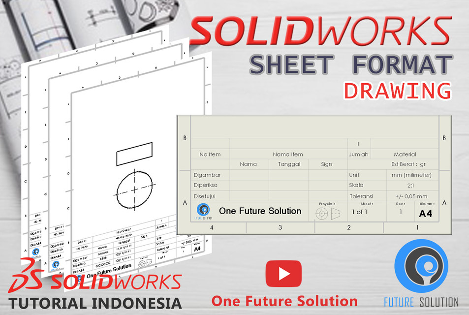 SolidWorks Tutorial Indonesia #078 - Sheet Format (Preview) | 3D CAD