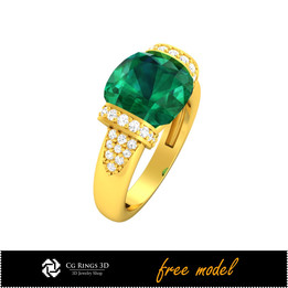 3D CAD Gemstone Rings - Free 3D Model