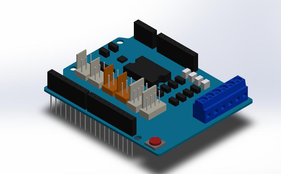 Arduino Motor Shield Solidworks 3d Cad Model Grabcad