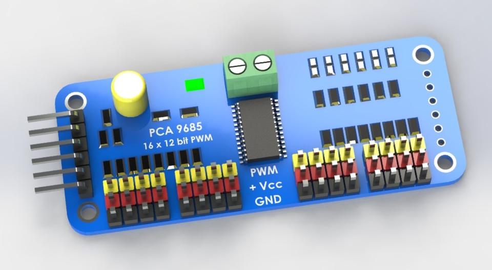 16 Channel PWM Servo Controller | 3D CAD Model Library | GrabCAD