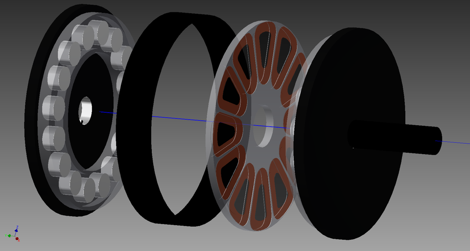 Axial Flux Electric Motor | 3D CAD Model Library | GrabCAD