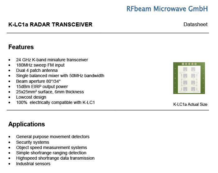 RF Beam 24 GHz K-LCx RADAR Transceiver | 3D CAD Model Library