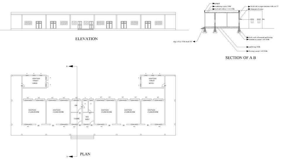 primary school building AutoCAD 3D CAD model GrabCAD