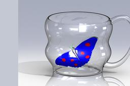 glass cup butterfly