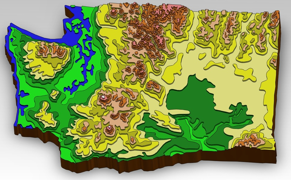 Washington State Topographical Map | 3D CAD Model Library | GrabCAD