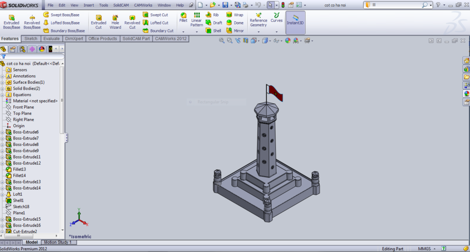 Hanoi Flag Tower | 3D CAD Model Library | GrabCAD