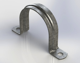 Galvanized strap clamp, 2 holes for pipes 1.625-1.66in