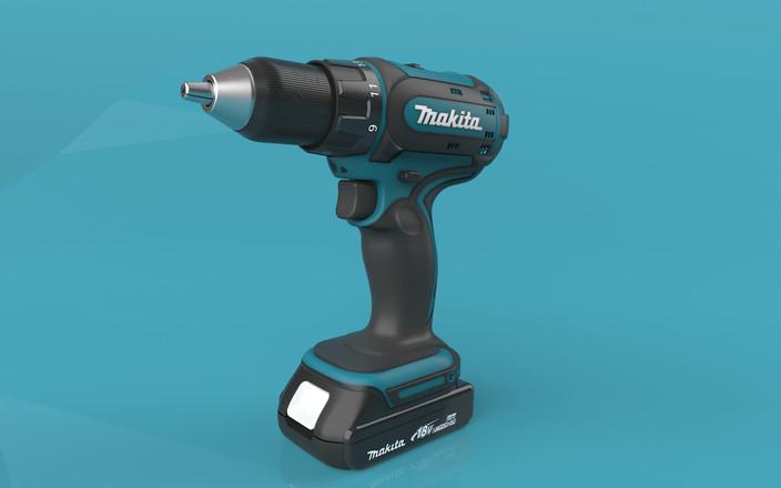 Makita cordless drill   3D CAD Model Library   GrabCAD